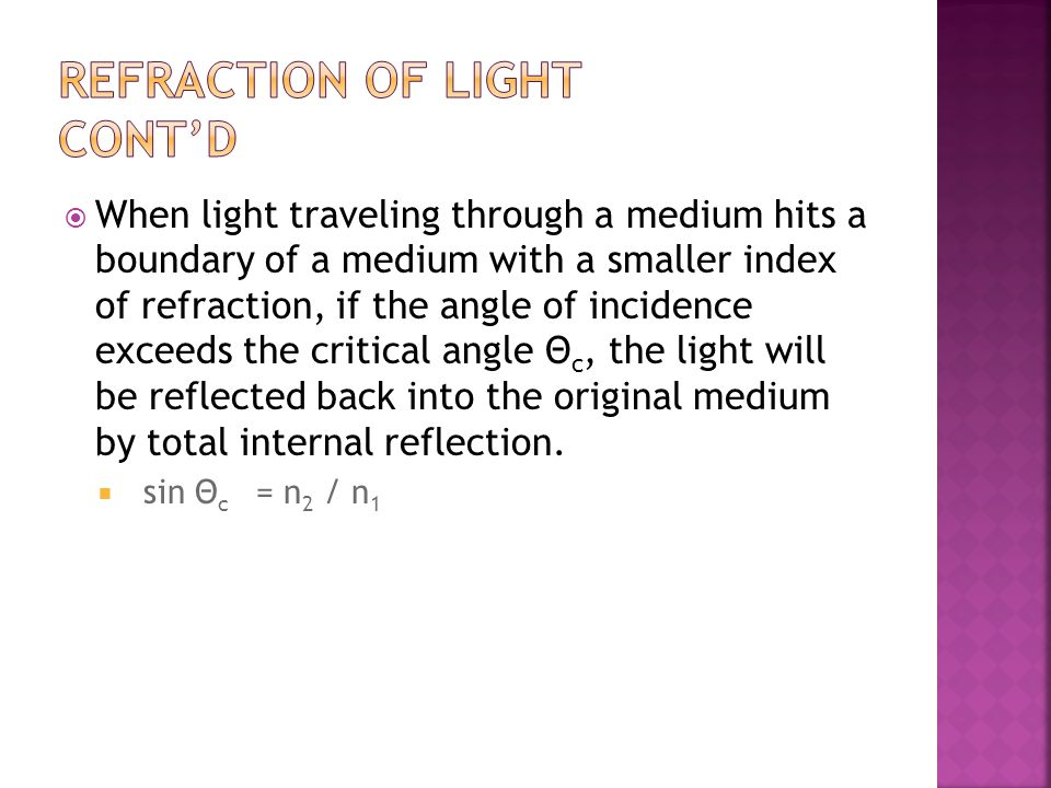 Refraction of Light cont'd