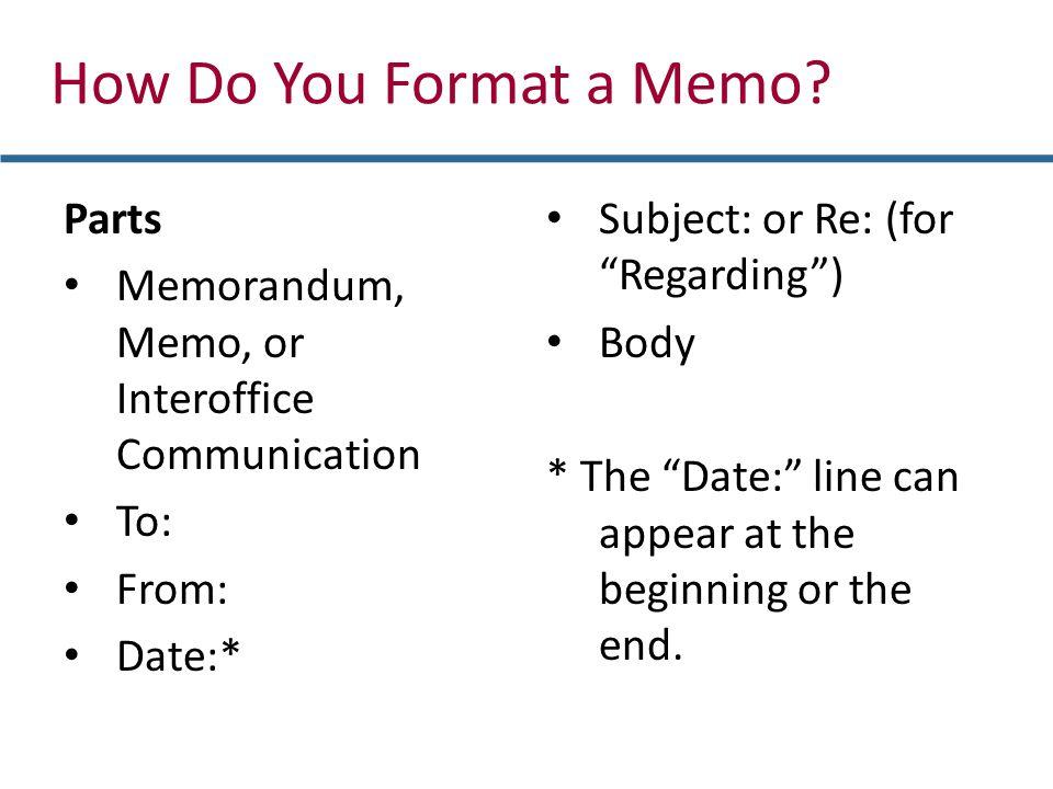 how do you format a memo parts
