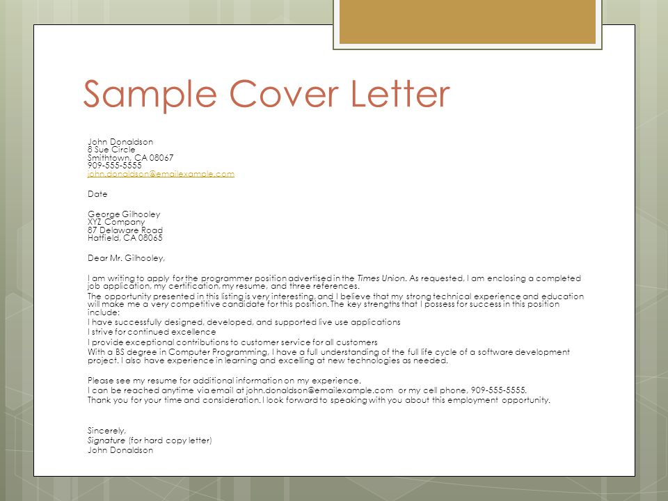 sample cover letter john donaldson 8 sue circle smithtown ca