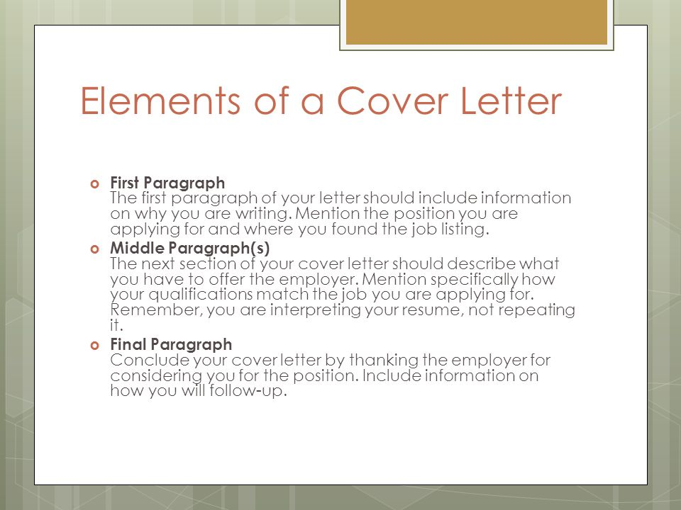 Elegant Elements Of A Cover Letter