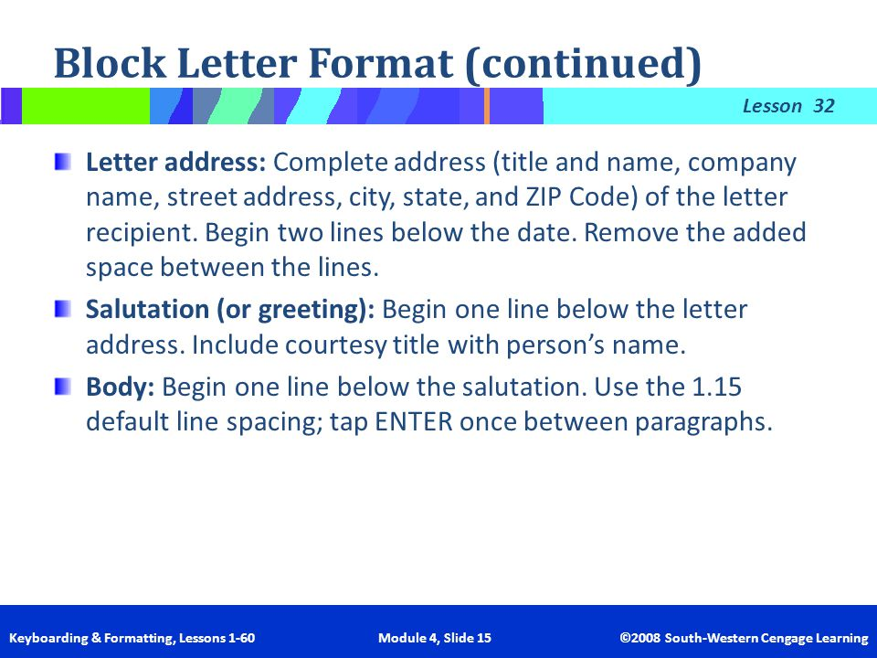 block letter format continued