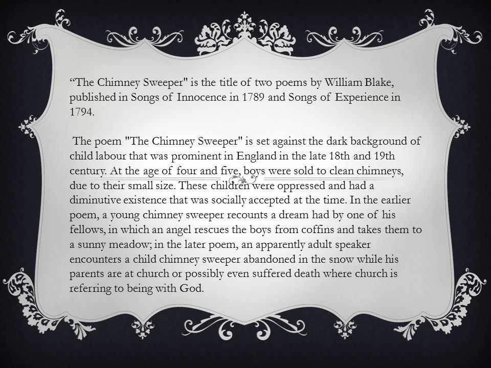 the chimney sweeper william blake compare and contrast