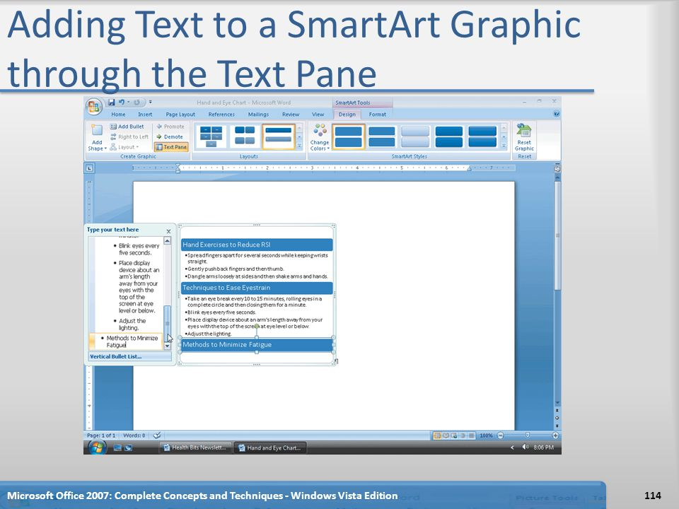Adding Text to a SmartArt Graphic through the Text Pane