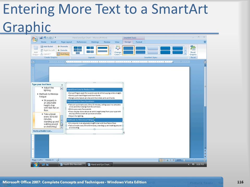 Entering More Text to a SmartArt Graphic