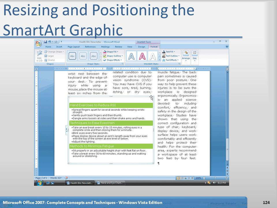 Resizing and Positioning the SmartArt Graphic