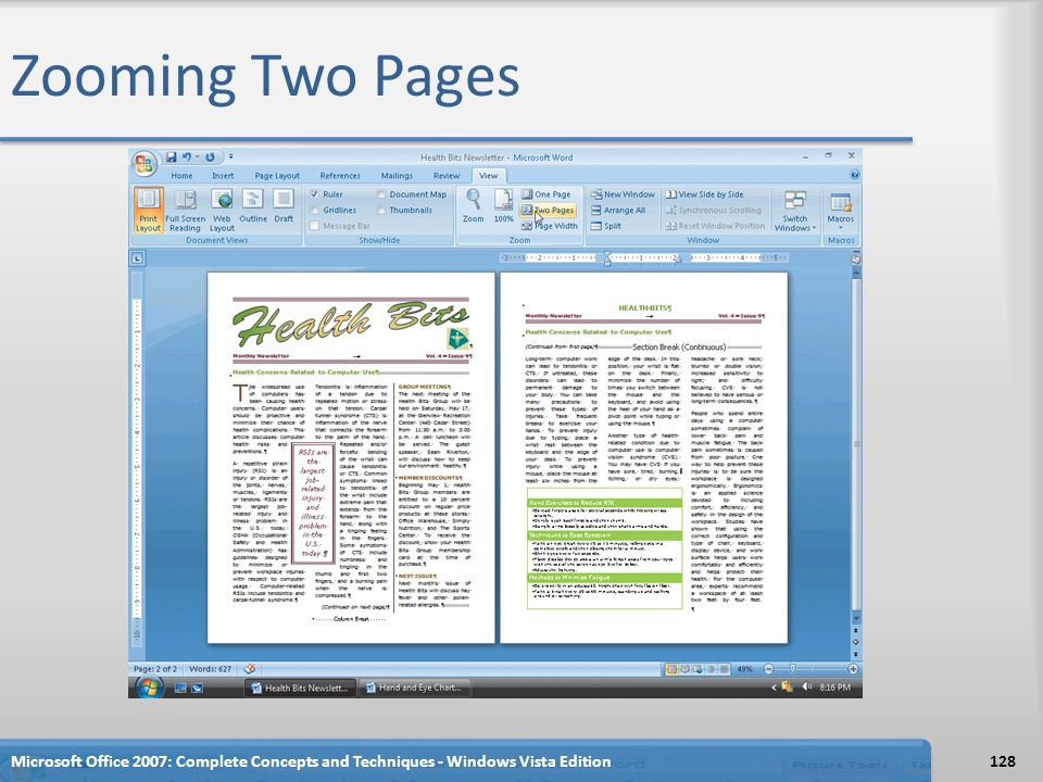 Zooming Two Pages Microsoft Office 2007: Complete Concepts and Techniques - Windows Vista Edition