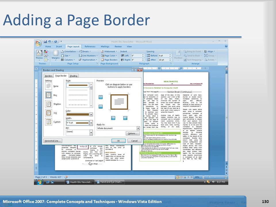 Adding a Page Border Microsoft Office 2007: Complete Concepts and Techniques - Windows Vista Edition.