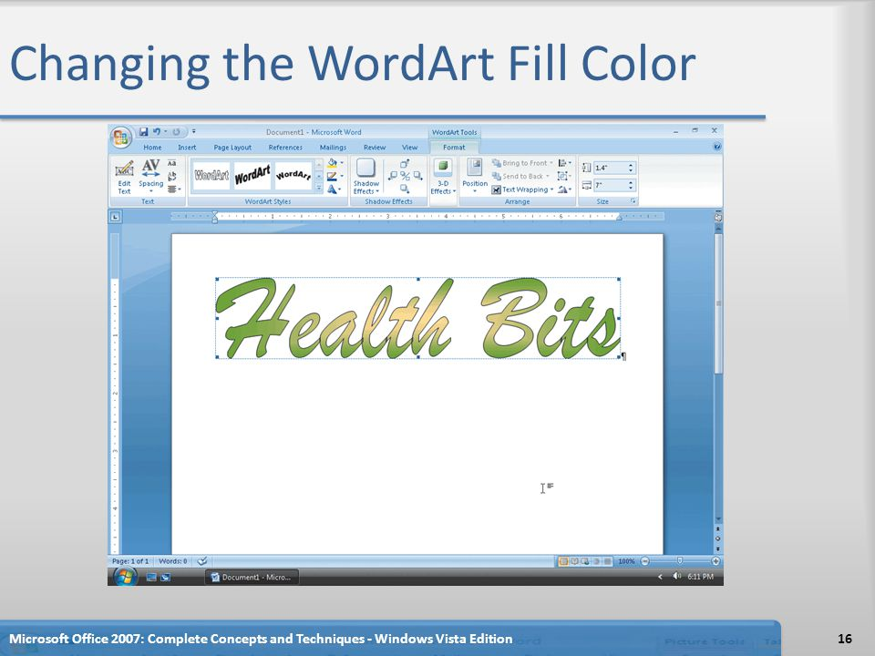Changing the WordArt Fill Color