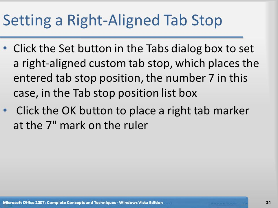 Setting a Right-Aligned Tab Stop