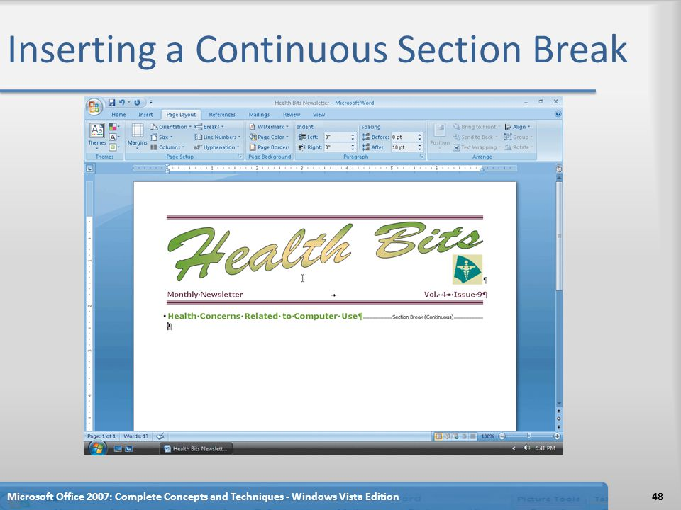 Inserting a Continuous Section Break