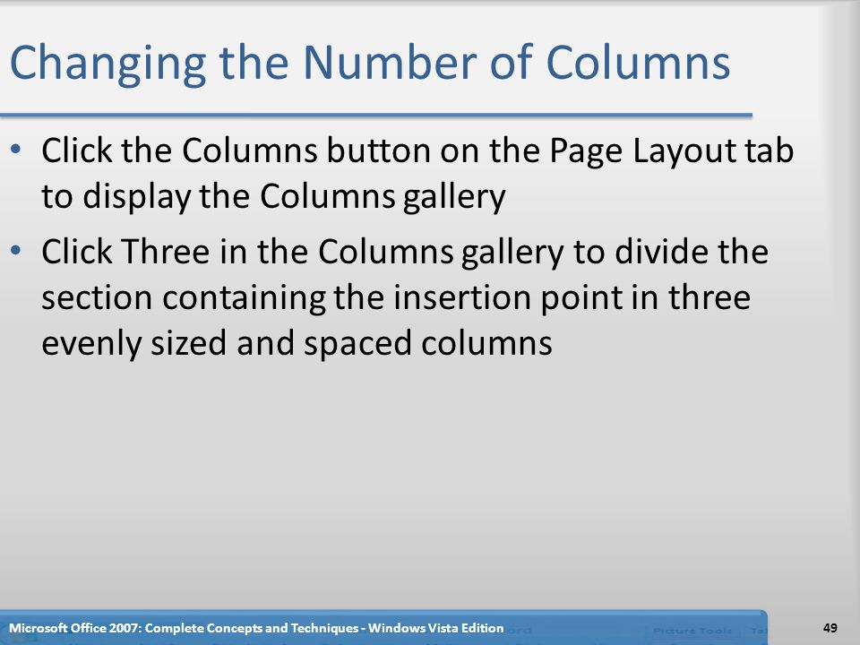 Changing the Number of Columns