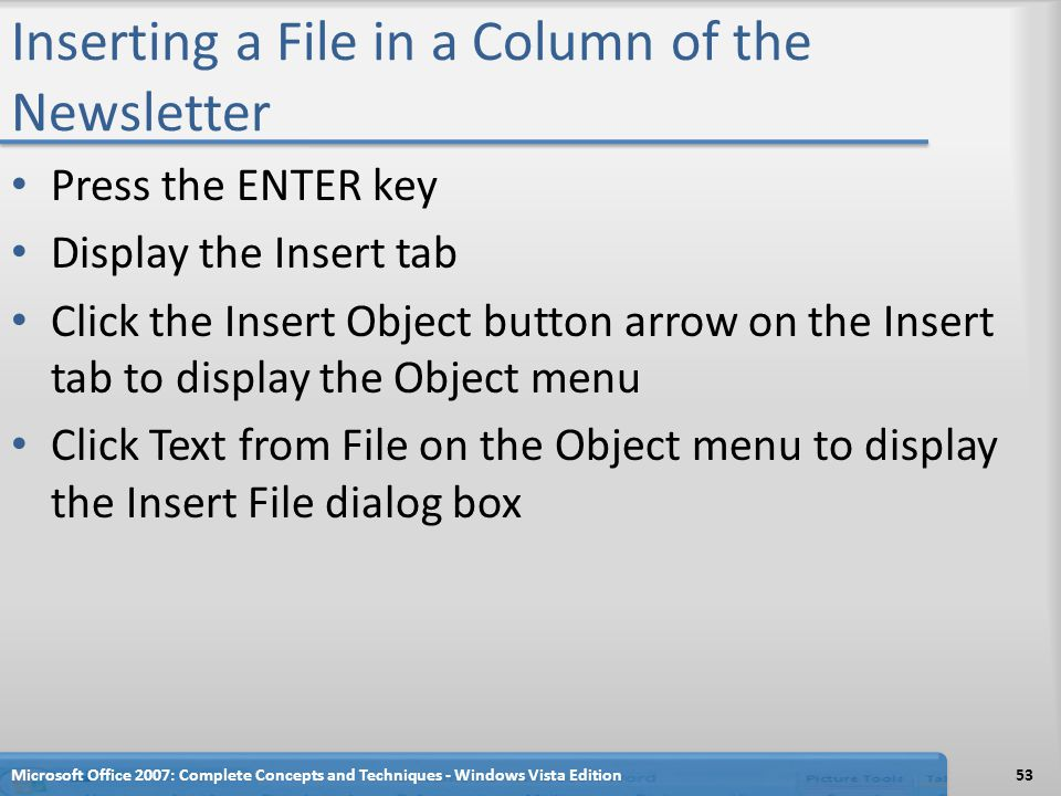 Inserting a File in a Column of the Newsletter