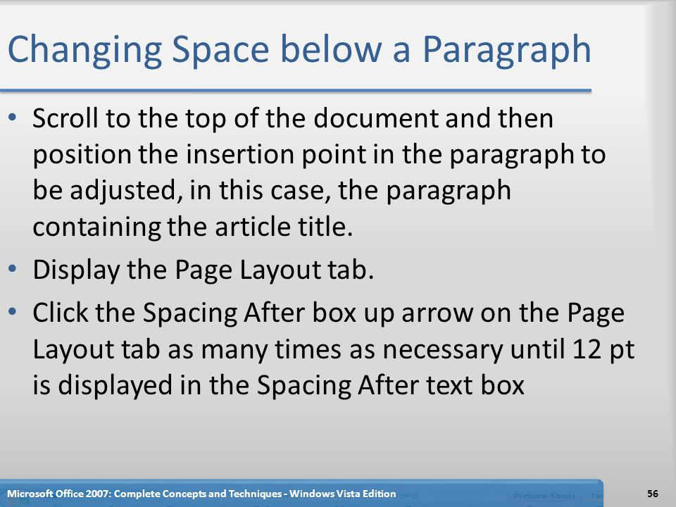 Changing Space below a Paragraph