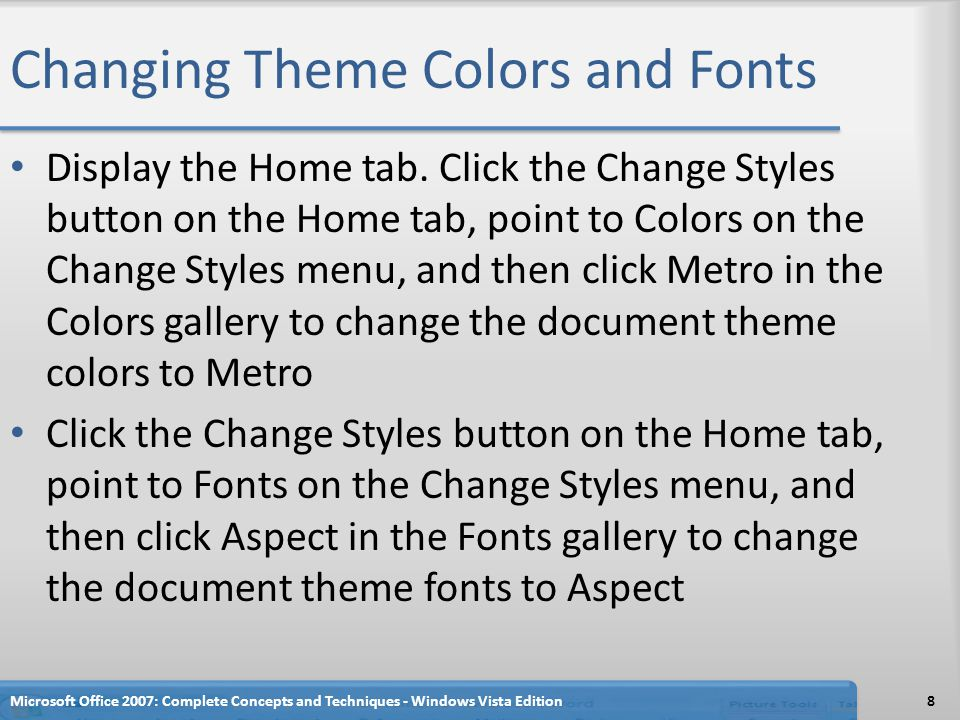 Changing Theme Colors and Fonts