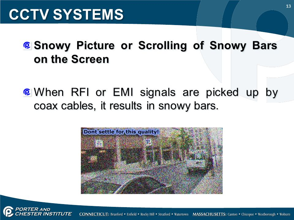CCTV SYSTEMS Snowy Picture or Scrolling of Snowy Bars on the Screen
