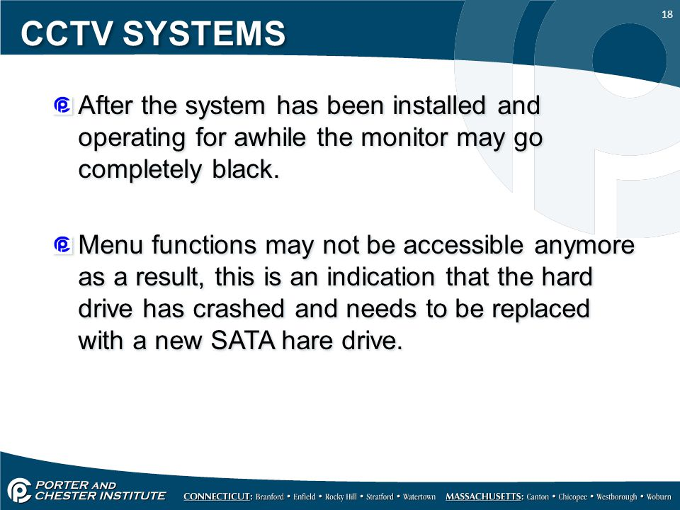 CCTV SYSTEMS After the system has been installed and operating for awhile the monitor may go completely black.