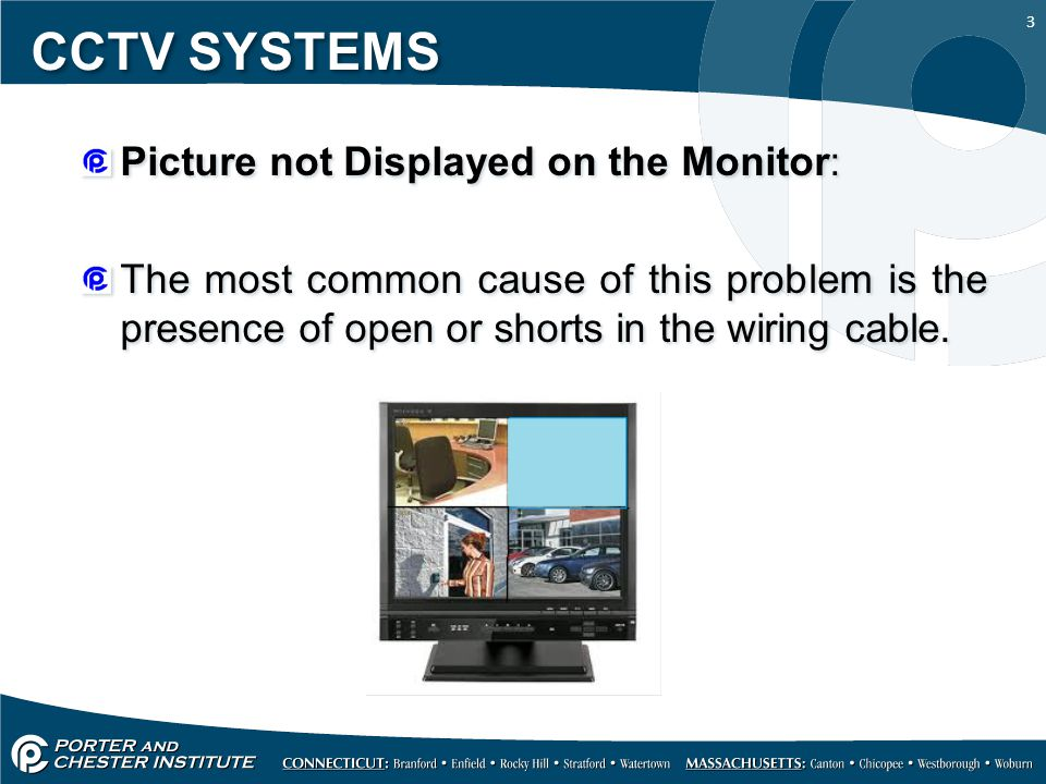 CCTV SYSTEMS Picture not Displayed on the Monitor: