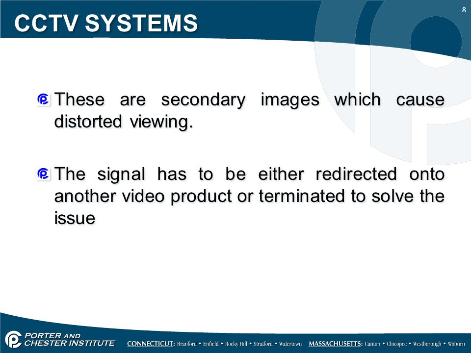 CCTV SYSTEMS These are secondary images which cause distorted viewing.