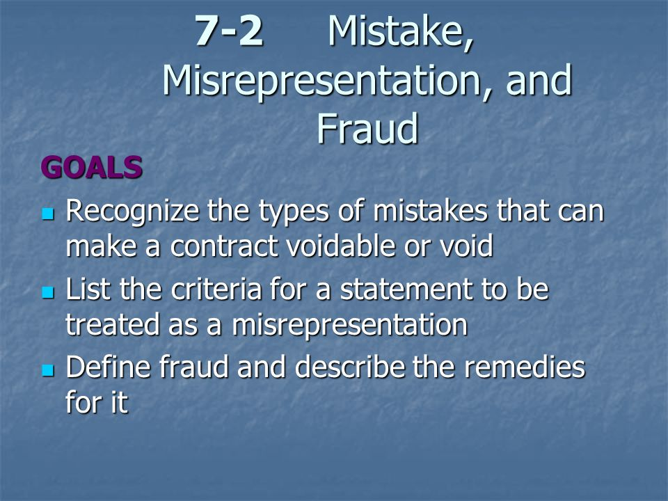 7-2 Mistake, Misrepresentation, and Fraud
