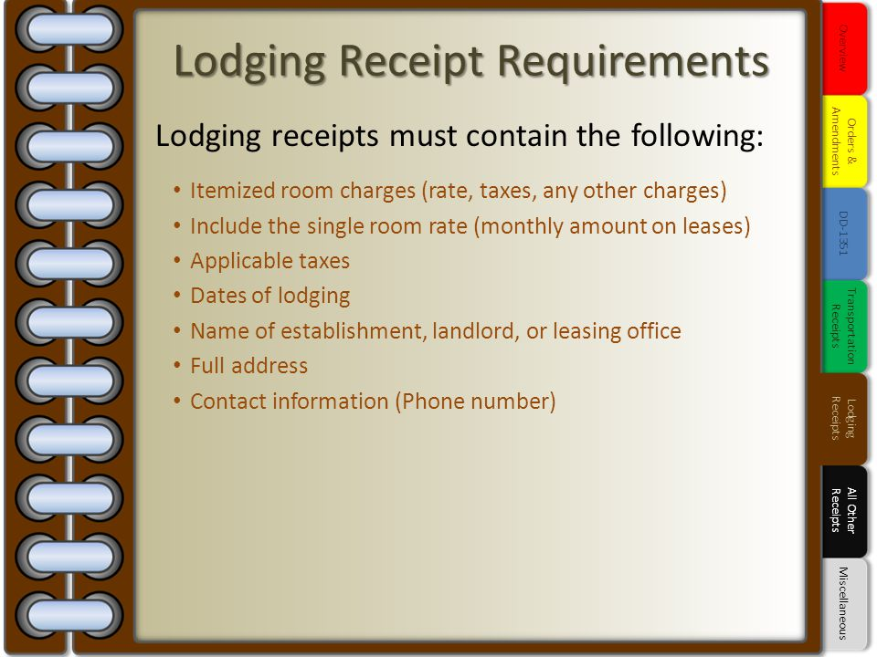Lodging Receipt Requirements