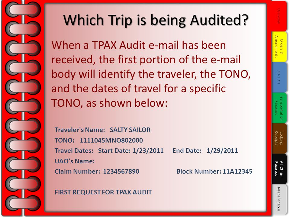 Which Trip is being Audited