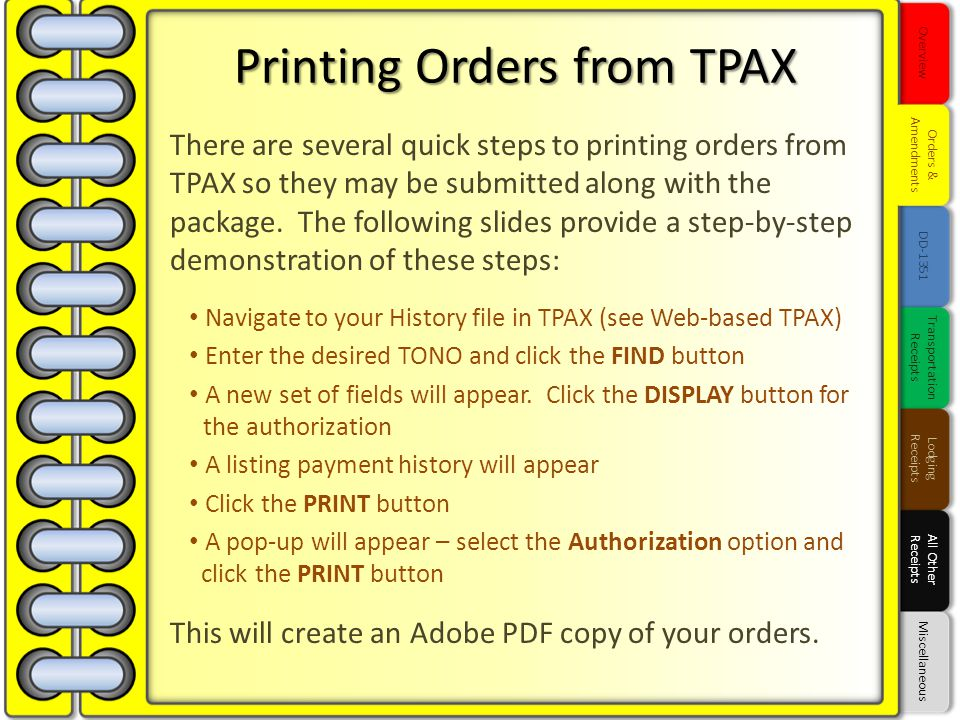 Printing Orders from TPAX