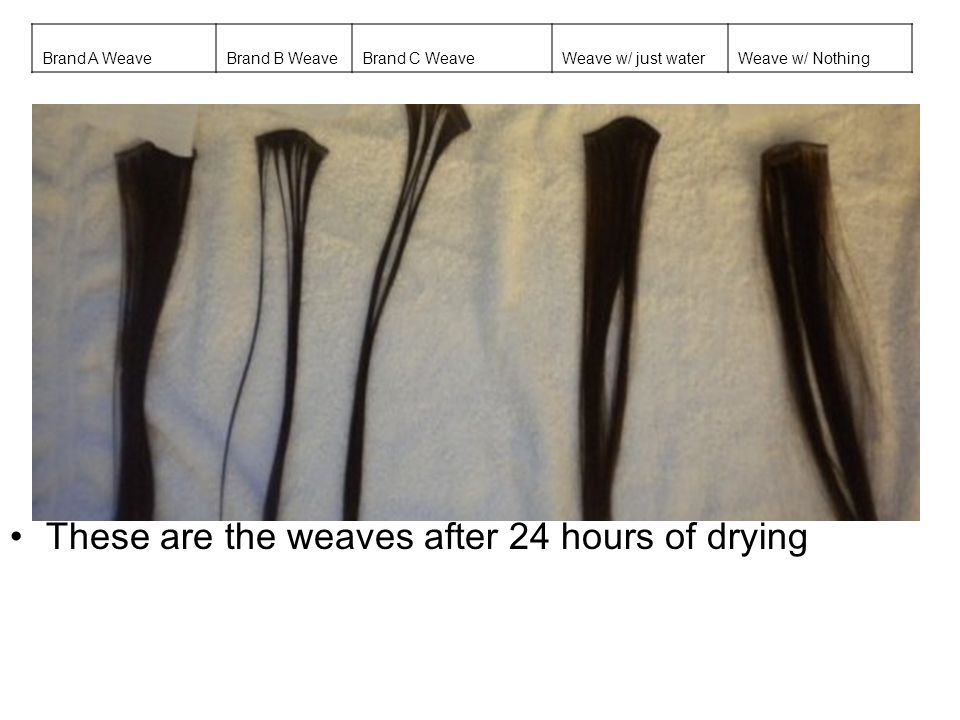 These are the weaves after 24 hours of drying
