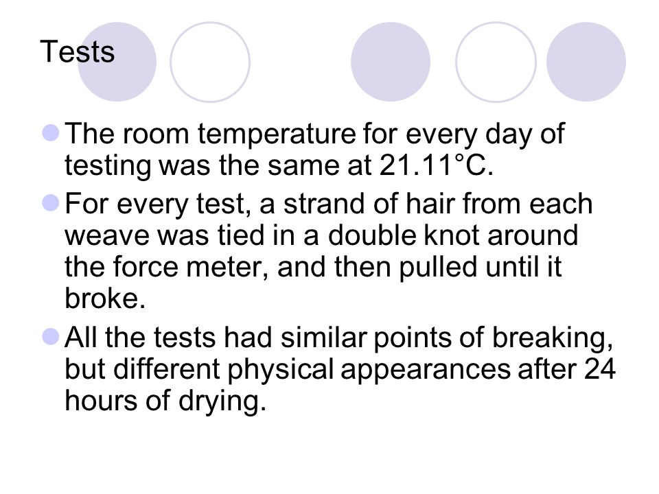 Tests The room temperature for every day of testing was the same at 21.11°C.