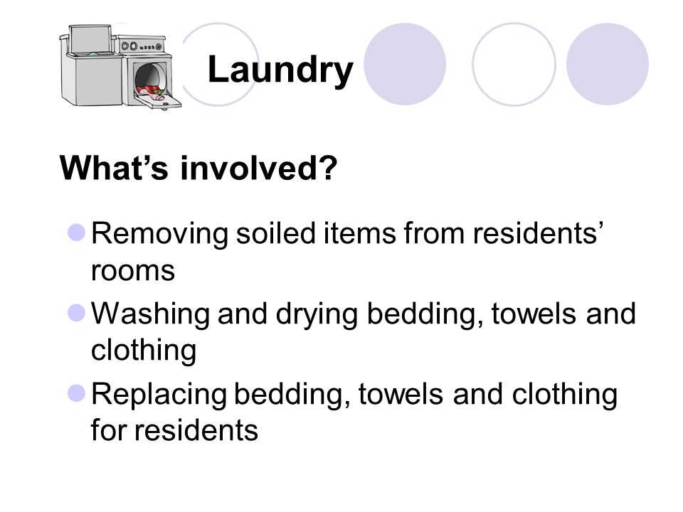 Laundry What's involved Removing soiled items from residents' rooms