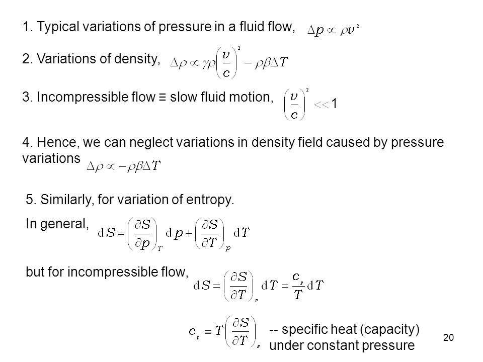 1. Typical variations of pressure in a fluid flow,