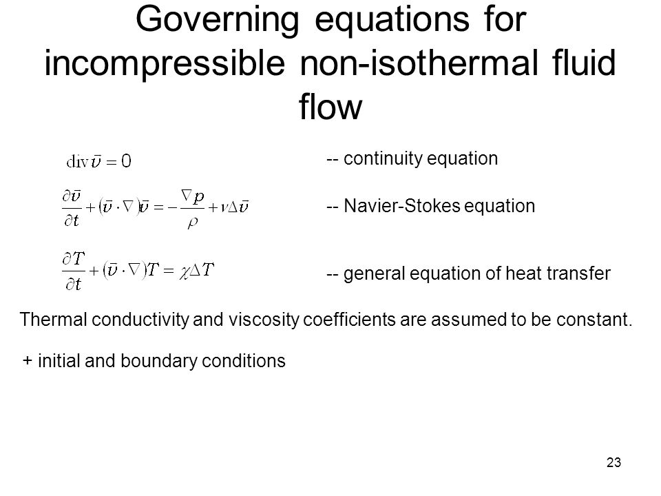 Governing equations for incompressible non-isothermal fluid flow