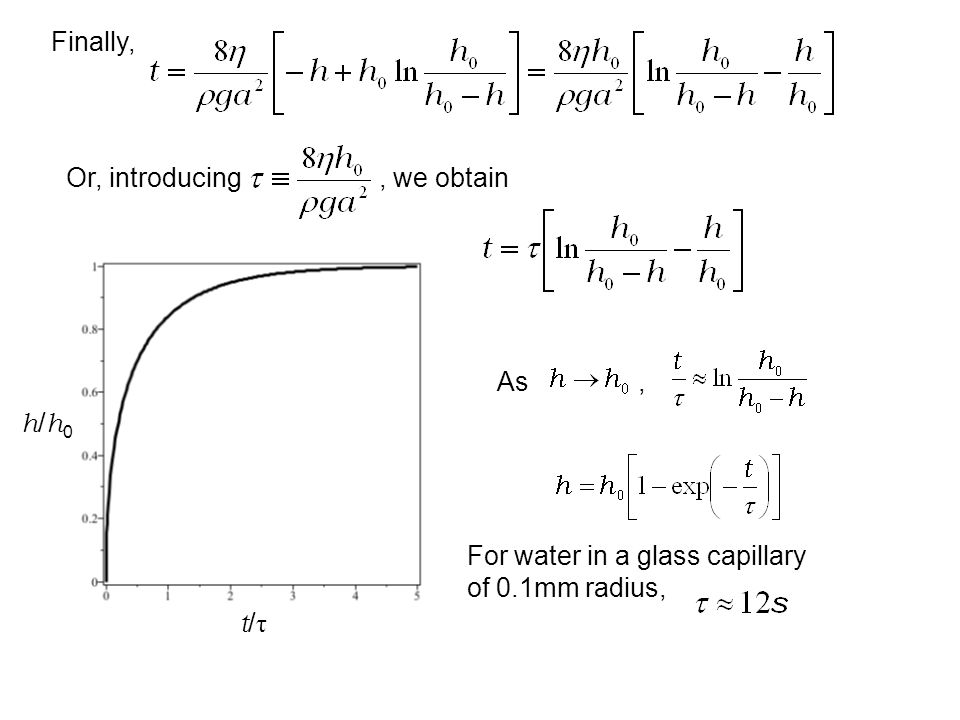 Finally, Or, introducing , we obtain. As , h/h0. For water in a glass capillary of 0.1mm radius,