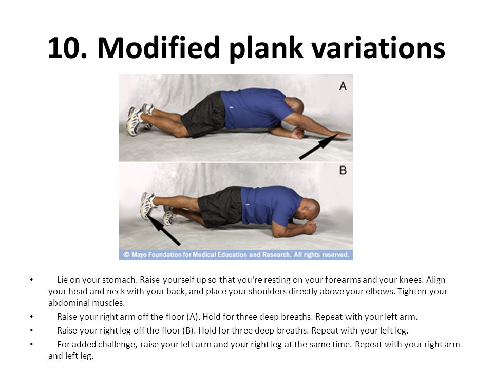 10. Modified plank variations