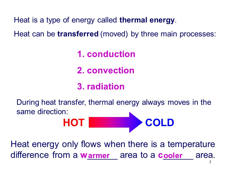 HOT COLD 1. conduction 2. convection 3. radiation