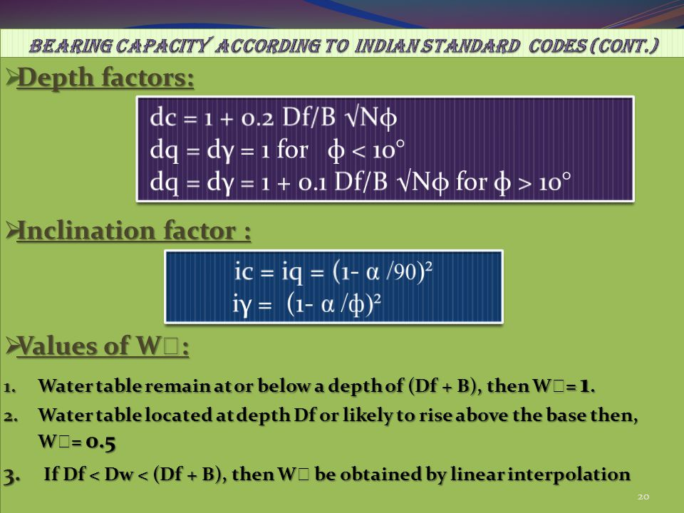 BEARING CAPACITY ACCORDING TO INDIAN STANDARD CODES (cont.)
