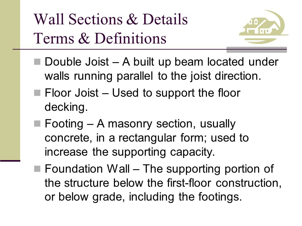 Wall Sections & Details Terms & Definitions