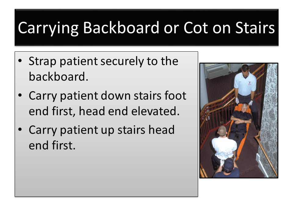 Carrying Backboard or Cot on Stairs