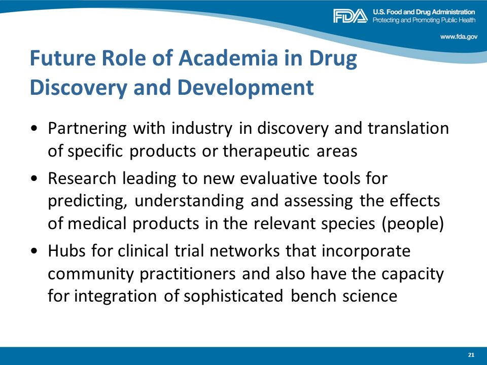 Future Role of Academia in Drug Discovery and Development