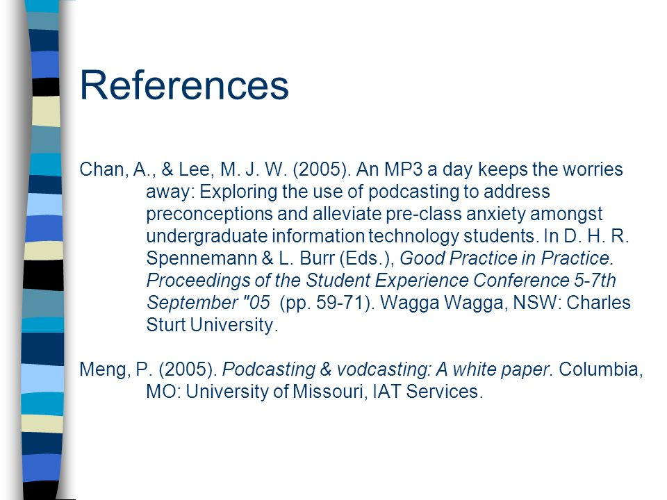 References Chan, A. , & Lee, M. J. W. (2005)