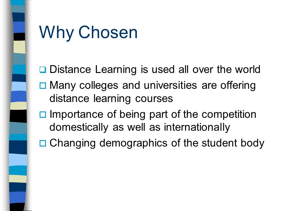 Why Chosen Distance Learning is used all over the world