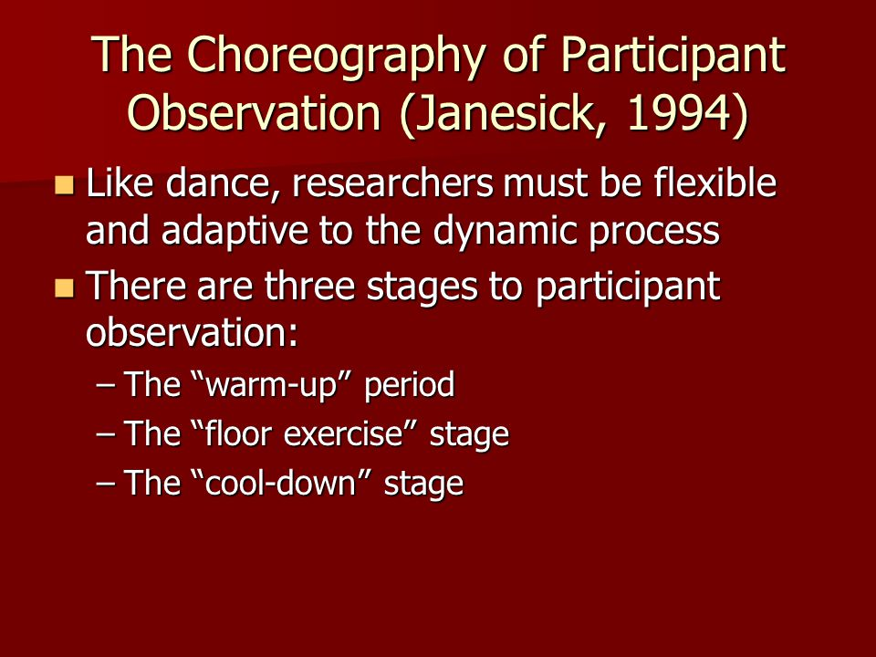 The Choreography of Participant Observation (Janesick, 1994)
