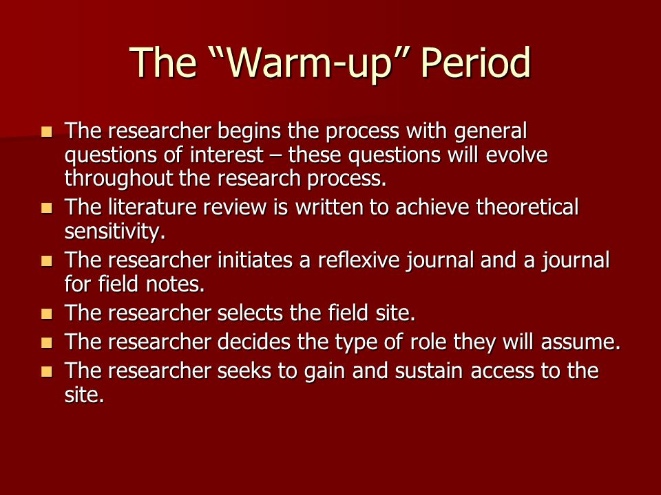 The Warm-up Period