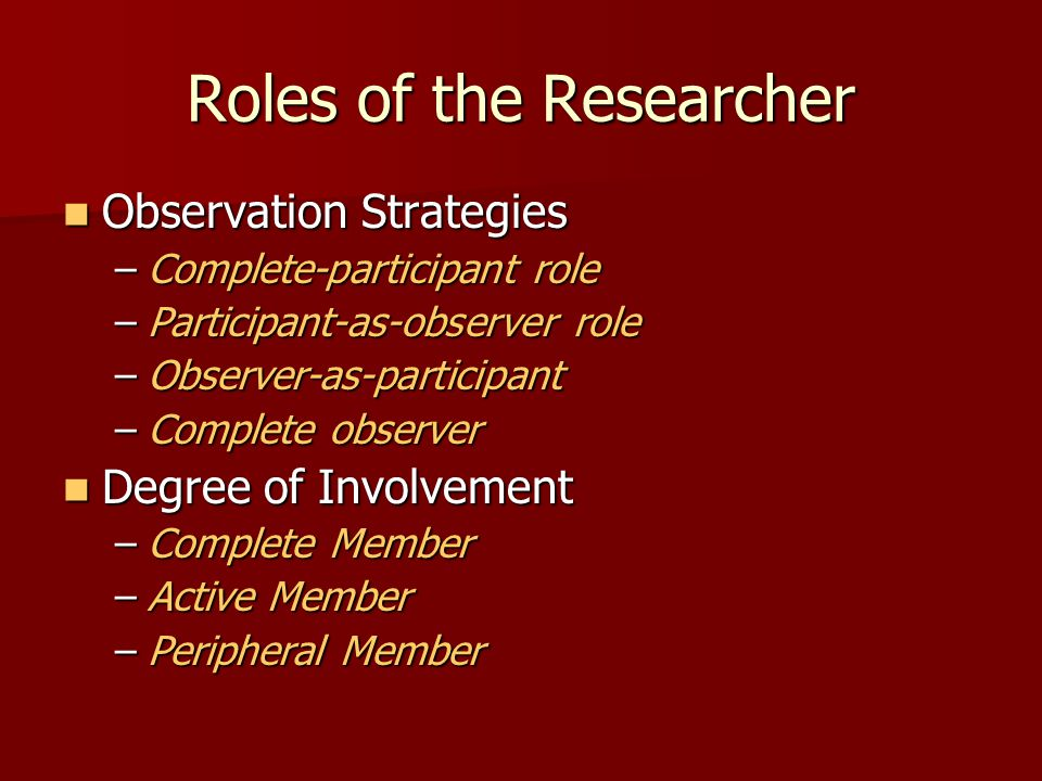 Roles of the Researcher