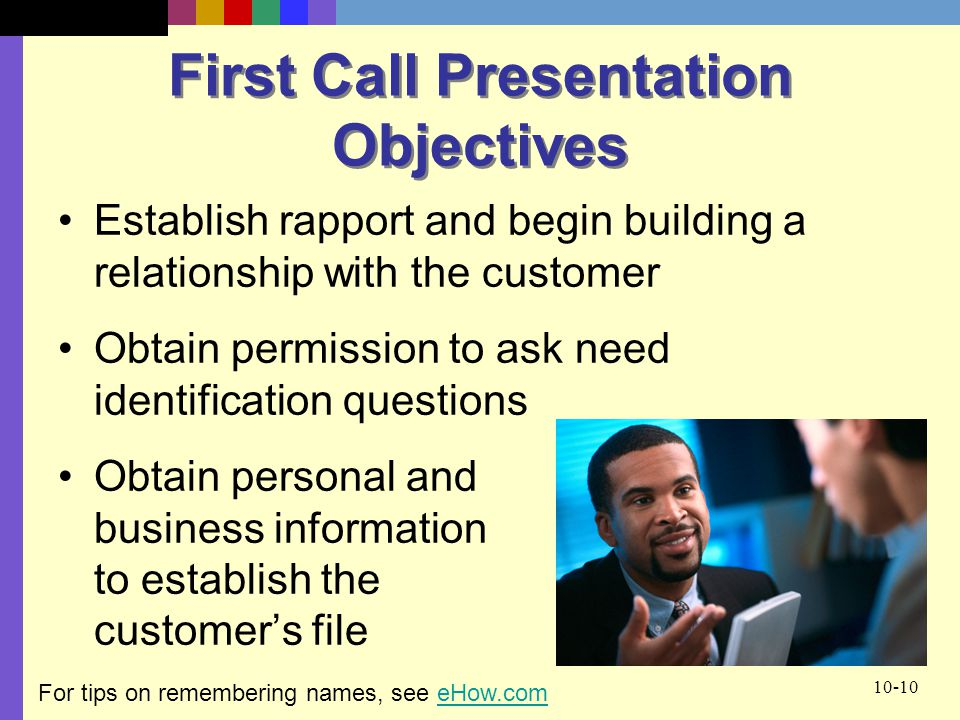 First Call Presentation Objectives