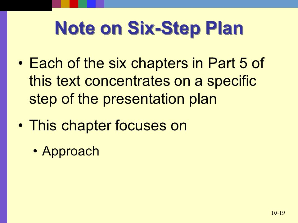 Note on Six-Step Plan Each of the six chapters in Part 5 of this text concentrates on a specific step of the presentation plan.