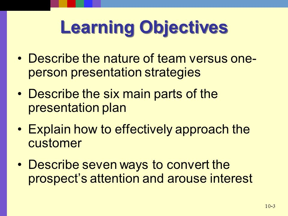 Learning Objectives Describe the nature of team versus one-person presentation strategies. Describe the six main parts of the presentation plan.