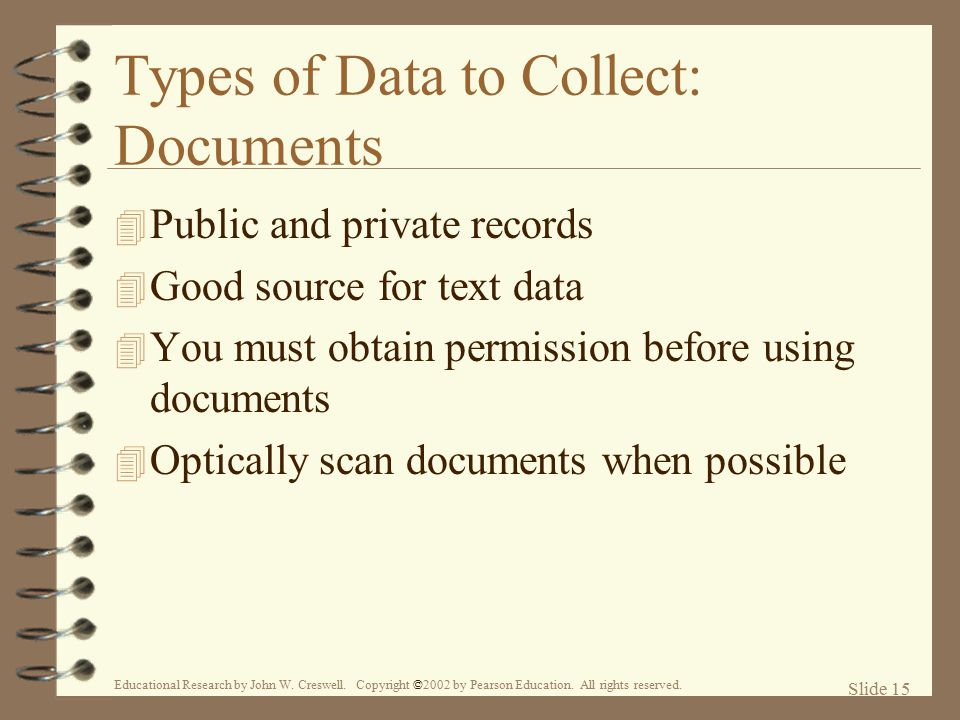 Types of Data to Collect: Documents