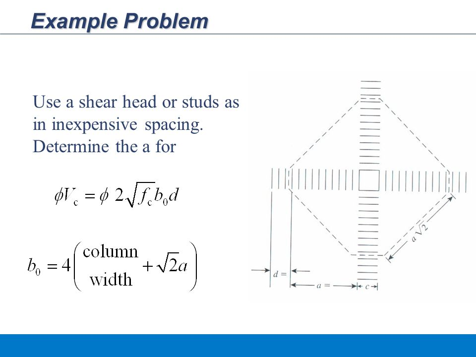 Example Problem Use a shear head or studs as in inexpensive spacing. Determine the a for