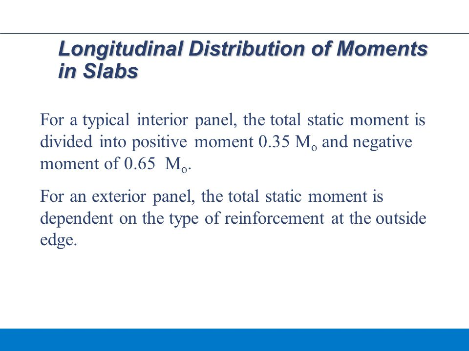 Longitudinal Distribution of Moments in Slabs