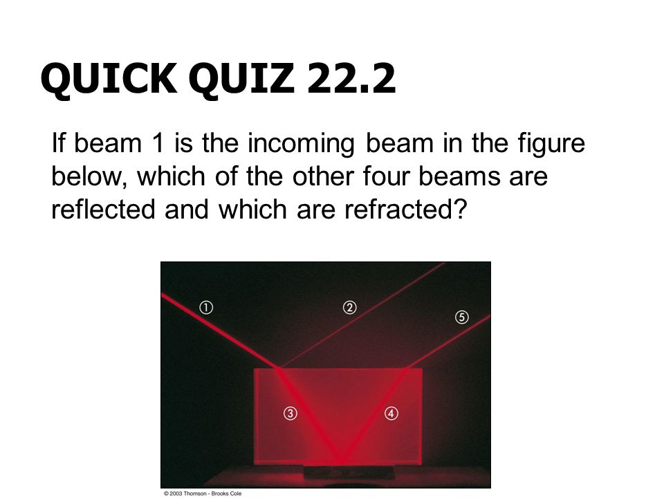QUICK QUIZ 22.2 If beam 1 is the incoming beam in the figure below, which of the other four beams are reflected and which are refracted
